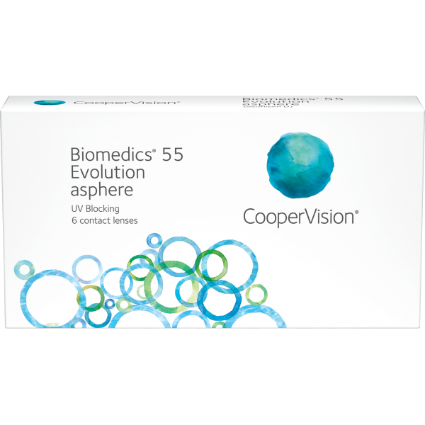 Biomedics® 55 Evolution by CooperVision, monthly lenses at Lensdeal. 92dd989d1788